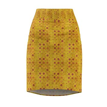 Amber Polka Dots Pencil Skirt