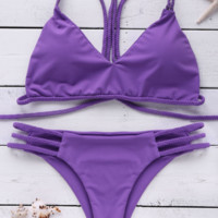 SEXY HOLLOWTWO PIECE PURPLE BIKINIS SWIMWEAR BATHSUIT