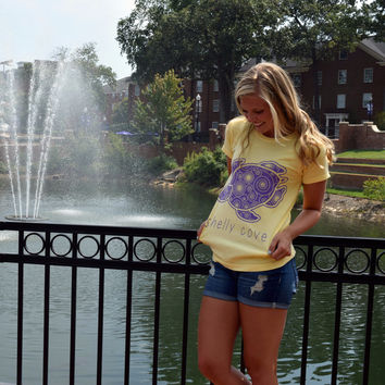 Butter Spiral Short Sleeve Tee With Dark Purple Turtle - Created for the Sea Turtle Conservancy