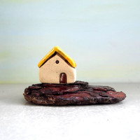 Ceramic miniature , White rustic house on driftwood , Mediterranean beach art , Gift for him , small house , dolls and miniatures , ceramics