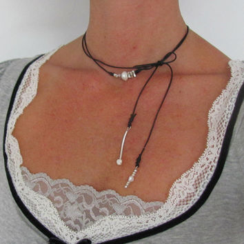 Silver Wrap Necklace, Leather Bolo, Bow Pearl Necklace, Black Choker