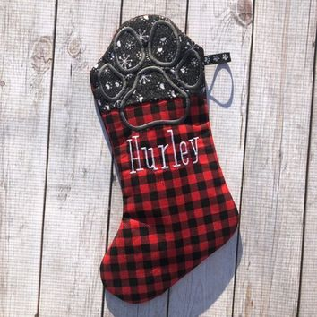 Personalized Buffalo Check Dog Stocking