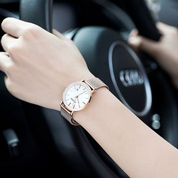 Simple Couple Watches Stainless Steel Band Analog Display Quartz Women Watch Rose Gold Ultra Thin Dial Business Wristwatch Date Waterproof 5009