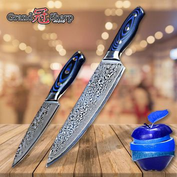 Damascus Knife Set 2 pcs Damascus Japanese Stainless Steel VG10 Chef Utility Knives Cooking Kitchen Chef Knife Pro Tools NEW