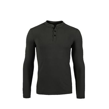 Huntsman Henley Men 100% Merino Wool Jersey Base Layer Long Sleeve Midweight Top Out door Warm Thermal TAD Style Clothes Shirt