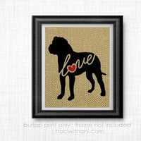 American Bulldog Love - Burlap Printed Wall Art : Bully, Silhouette, English, Dog, Wall Art, Rustic, Typography, Dog Lover Gift