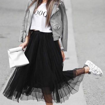 Smocked Tulle Maxi Skirt
