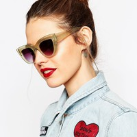 ASOS Flat Top Cat Eye Sunglasses In Glitter With Metal Nose Insert