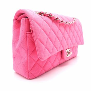 CHANEL Quilted Jersey Classic Double Flap SHW Chain Shoulder Bag Pink