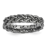 Sterling Silver Stackable Expressions Black Plated Intertwined Hearts  Carved Ring