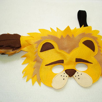 Children's Safari Animal LION Felt Mask and Tail Set