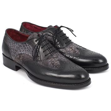 Paul Parkman Goodyear Welted Gray Genuine Python & Black Calfskin Wingtip Oxfords Shoes (ID#27PT-GRYBLK)