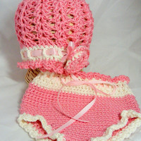 Baby hat and diaper cover set - 2-tone spring baby cloche and everyday diaper cover