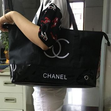 Chanel Stylish Ladies Shopping Bag Waterproof Canvas Leather Joining Together Shoulder Bag Environmental Protection Bag