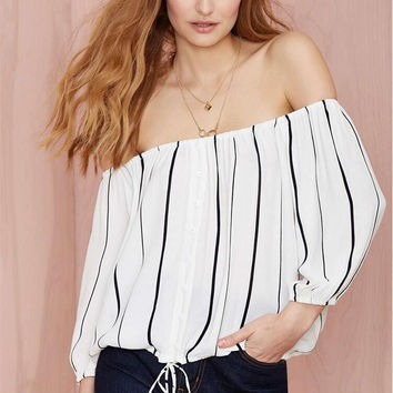 Black and White Stripe Off Shoulder Elastic Waist Chiffon Blouse