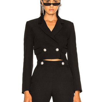 MSGM Cropped Cady Jacket in Black | FWRD