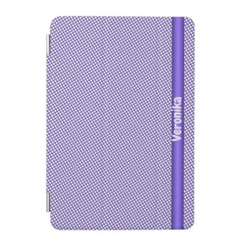 Violet small plaid pattern. Add name. iPad Mini Cover