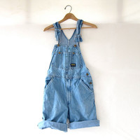 80s Bib Overalls jean shorts. OshKosh cut off bibs.