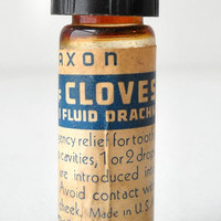 Vintage Saxon Pharmacy Vial, Oil of Cloves, Glass Apothecary Bottle, 1 Fluid Drachm, Medicine Label