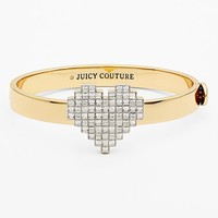 Women's Juicy Couture 'Heart of Gold' Pixel Heart Hinged Bangle - Gold/ Clear