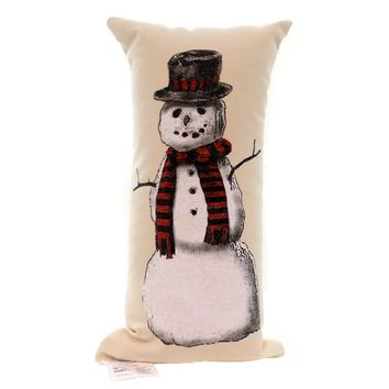 Christmas SNOWMAN PILLOW # Fabric Screen Print Spsnowman2