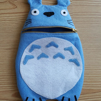 Blue Totoro Zip Purse, Makeup Bag, Coin Purse, Small Accessory Pouch, FREE SHİPPİNG Hayao Miyazaki, Studio Ghibli, Japan Comic