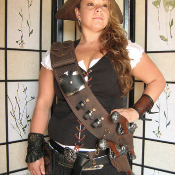 Pirate Steampunk LARP Leather Baldric Flintlock Gun Holsters with Flask and Glass Vials