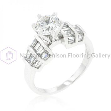Tapered Baguette Cubic Zirconia Engagement Ring (size: 08) R08341R-C01-08