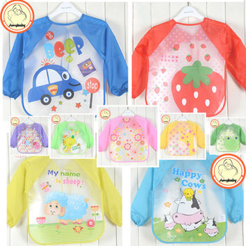 Hot New Children Baby Todders Waterproof Long Sleeve Art Smock Bibs Apron Cartoon 2016 Feeding baberos bavoir clothing
