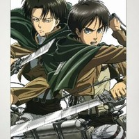 Home Decor Attack on Titan Shingeki no Kyojin Cosplay Wall Scroll Poster Eren Jäger & Levi / Rivaille / Rival 23.6 X 35.4 Inches-JX09