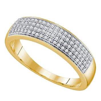 10kt Yellow Gold Men's Round Pave-set Diamond Wedding Band Ring 1/4 Cttw - FREE Shipping (US/CAN)