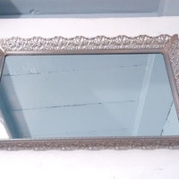Mirror Tray, Rectangle, Mirror, Vanity Mirror, Large, Filigree, Silver, Vintage