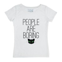 People are Boring (Meow)-Female White T-Shirt