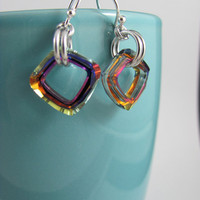 Cosmic square Swarovski earrings sterling silver earhooks