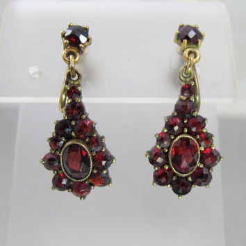 Victorian Bohemian Garnet Earrings, Rose Cut Garnets, 1900s Antique Garnet Jewelry Jewellery, Garnet Screw Back Earrings