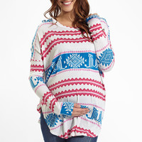 Blue Fuchsia Ivory Tribal Printed Long Sleeve Maternity Top