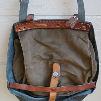 Vintage Swiss Army Bread Bag Army Green Bag Swiss Army