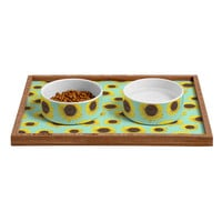 Allyson Johnson Sunflower Pattern Pet Bowl and Tray