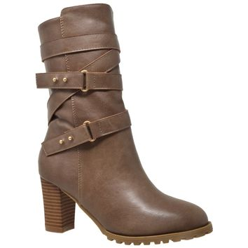 Women's Mid Calf Boots Strappy Buckle Taupe