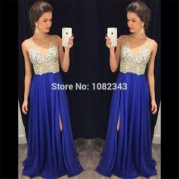 New Royal Blue Chiffon Sleeveless V Neck Beading Long Prom Dresses 2016 Sexy High Slit A Line Floor Length Prom Dress SML30907