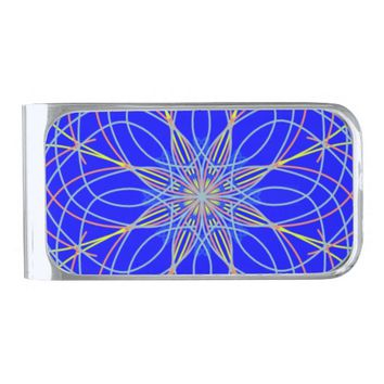 Kaleidoscope Mandala Art Blue Star Money Clip
