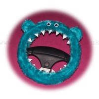Turquoise / Teal Fuzzy monster car steering wheel cover