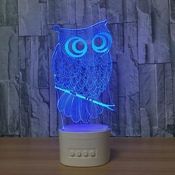 Owl 3D LED Bluetooth Lamp Speaker