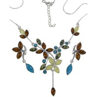 Ariel Amber and Turquoise Flower Set