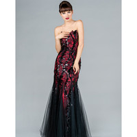 2013 Prom Dresses - Black & Red Strapless Mermaid Prom Dress - Unique Vintage - Prom dresses, retro dresses, retro swimsuits.