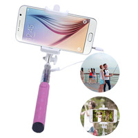 100% High Quality Wired Extendable Self Selfie Stick Portable Mini Handheld Self-portrait Stick Holder for iPhone Samsung Cheap
