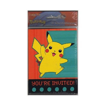 Pokemon Pikachu Party Invitations - 8 Invites & 8 Envelopes