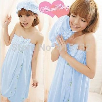 Free Shipping Sleeveless Bath Robe Women Terry Bathrobe Sleepwear Falbala Bowknot Nightgown Strap Bath Towel With Hair Bands