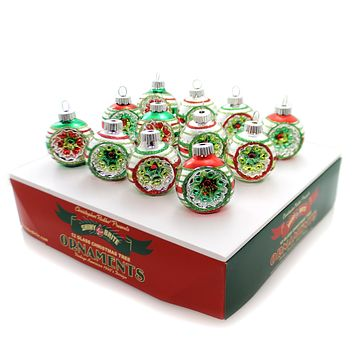Christopher Radko Holiday Splendor Small Rounds W/Reflectors Boxed Glass Ornaments