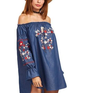 Women Blue Off Shoulder High Low Chambray Dresses Vintage Sexy Casual Dress